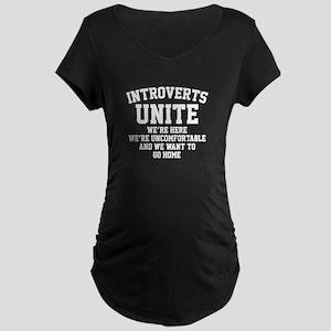 Introverts Unite Maternity Dark T-Shirt