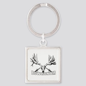 Bowhunter buck 14 Square Keychain