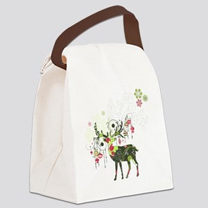Abstract Decorated Christmas Elk Canvas Lunch Bag