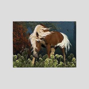 Curious Horse on a meadow 5'x7'Area Rug