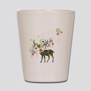 Abstract Decorated Christmas Elk Shot Glass