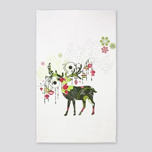 Abstract Decorated Christmas Elk Area Rug