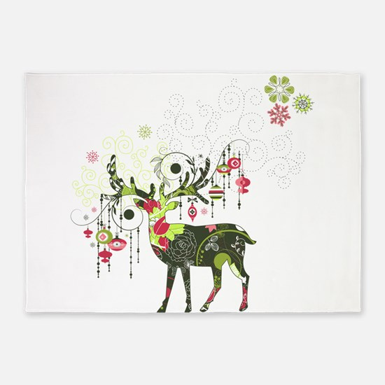 Abstract Decorated Christmas Elk 5'x7'Area Rug