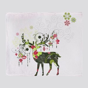 Abstract Decorated Christmas Elk Throw Blanket