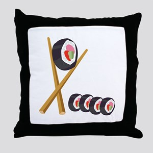 Sushi Rolls Throw Pillow