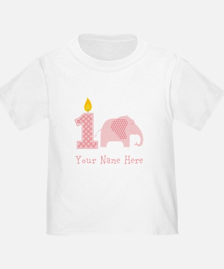First Birthday Girl Elephant T-Shirt