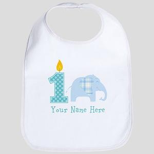 First Birthday Boy Elephant Bib
