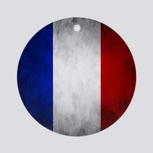 Grunge French Flag Ornament (Round)