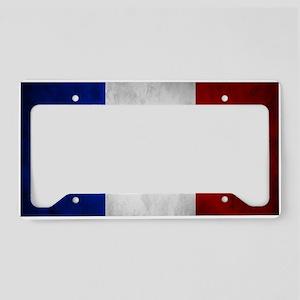 Grunge French Flag License Plate Holder