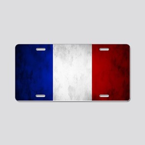 Grunge French Flag Aluminum License Plate
