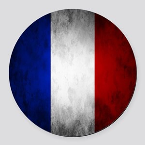 Grunge French Flag Round Car Magnet