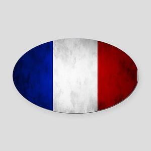 Grunge French Flag Oval Car Magnet