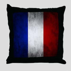 Grunge French Flag Throw Pillow