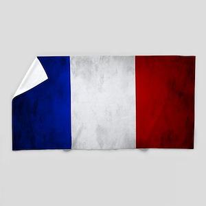 Grunge French Flag Beach Towel