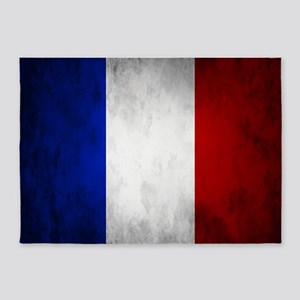 Grunge French Flag 5'x7'Area Rug