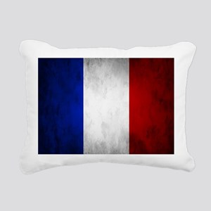 Grunge French Flag Rectangular Canvas Pillow