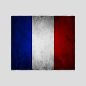 Grunge French Flag Throw Blanket