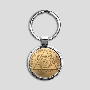 AA 2 year Round Keychain