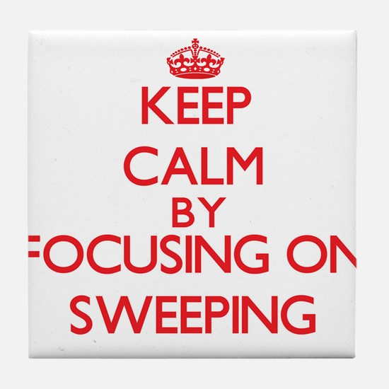 Keep Calm by focusing on Sweeping Tile Coaster