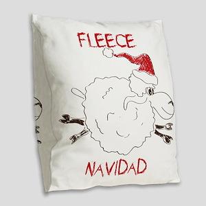 CUTE Fleece Navidad Sheep Burlap Throw Pillow