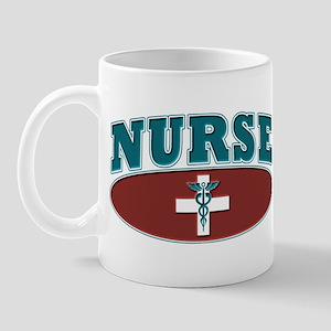 Sporty Nurse Caduceus White Cross Mug