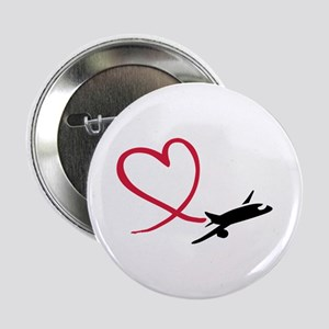 """Airplane red heart 2.25"""" Button"""