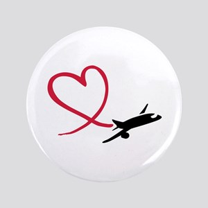 "Airplane red heart 3.5"" Button"