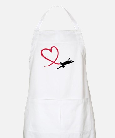 Airplane red heart Apron