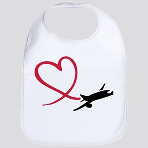 Airplane red heart Bib
