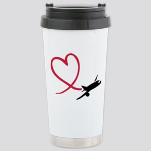 Airplane red heart Stainless Steel Travel Mug
