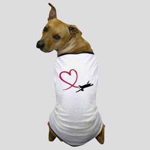 Airplane red heart Dog T-Shirt