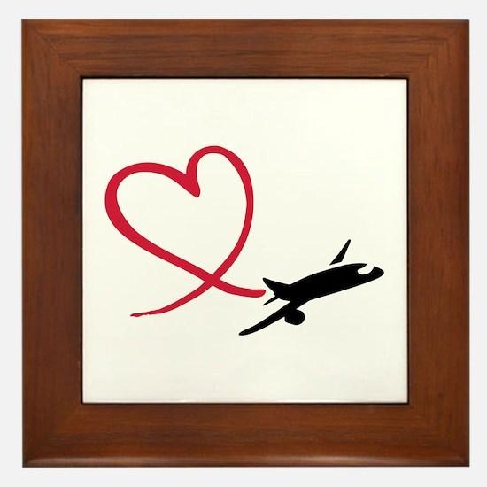 Airplane red heart Framed Tile
