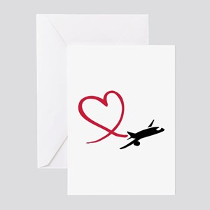 Airplane red heart Greeting Cards (Pk of 20)