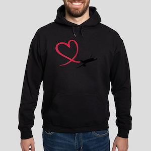 Airplane red heart Hoodie (dark)