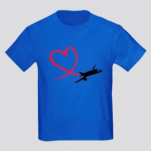 Airplane red heart Kids Dark T-Shirt