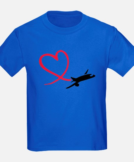 Airplane red heart T
