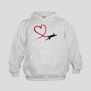Airplane red heart Kids Hoodie