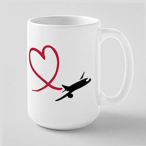 Airplane red heart Large Mug