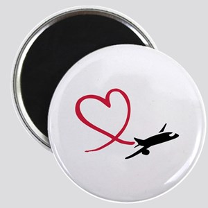 Airplane red heart Magnet
