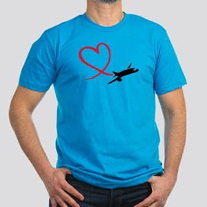 Airplane red heart Men's Fitted T-Shirt (dark)