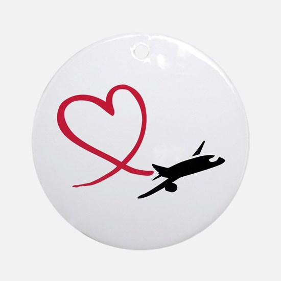 Airplane red heart Ornament (Round)