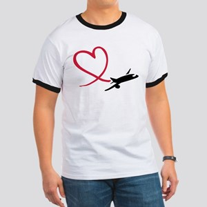 Airplane red heart Ringer T