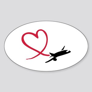 Airplane red heart Sticker (Oval)