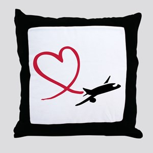 Airplane red heart Throw Pillow