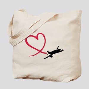 Airplane red heart Tote Bag