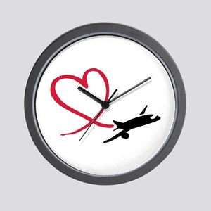 Airplane red heart Wall Clock