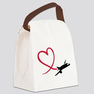 Airplane red heart Canvas Lunch Bag