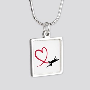 Airplane red heart Silver Square Necklace