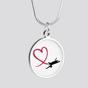 Airplane red heart Silver Round Necklace