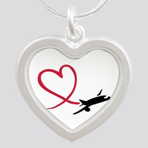 Airplane red heart Silver Heart Necklace